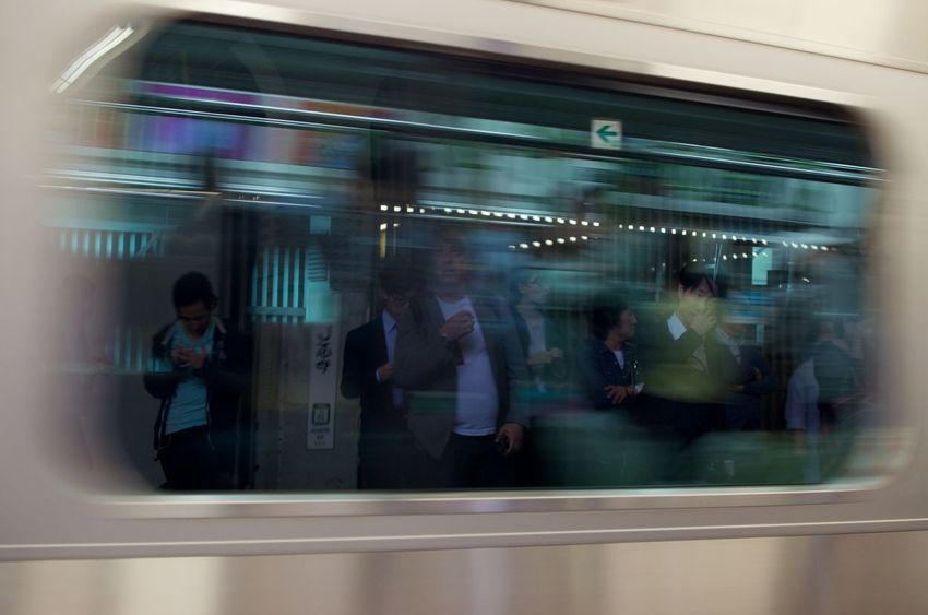Blurred Motion Group Of People Rail Transportation Public Transportation Adult Train Subway Train Rush Hour Japan Travel Speed Movement Running Late Reflection In Window
