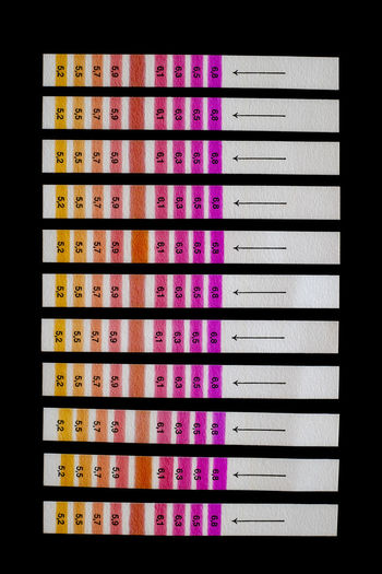 Test strips on black background Check Measuring Arrangement Close-up Control Day Glucose In A Row Indoors  Measurement Multi Colored No People Pattern Strips Pattern Test Test Strips