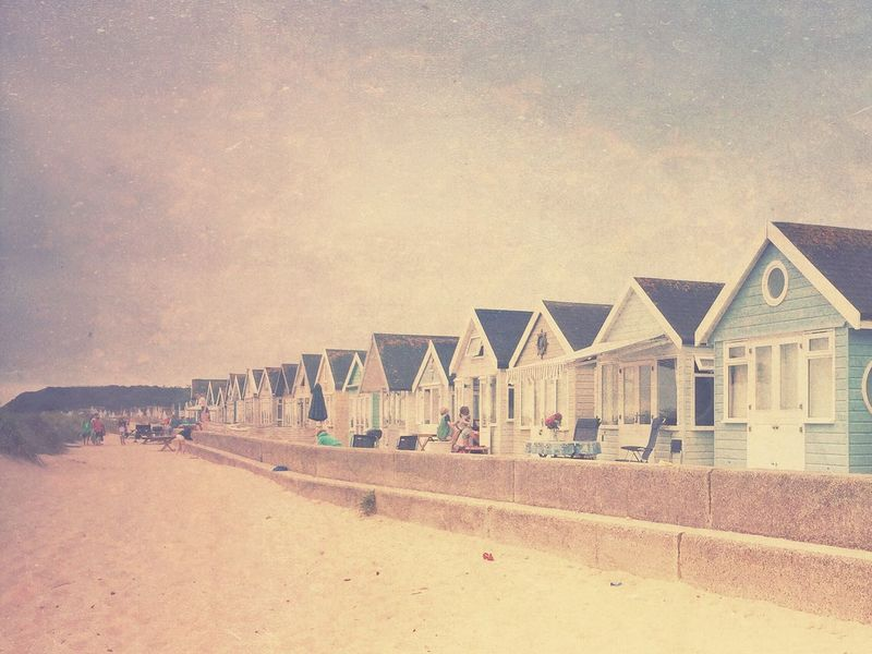 Beach Building Exterior Beach Huts Sand Sea In A Row Beach Holiday Outdoors Seaside Vintage IPhoneography