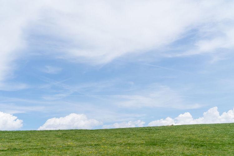 Beauty In Nature Cloud - Sky Day Desktop Wallpaper DesktopBackGround Field Grass Green Color Horizon Over Land Landscape Monte Baldo Mountain Nature No People Sky Tranquil Scene Tranquility Windows Xp