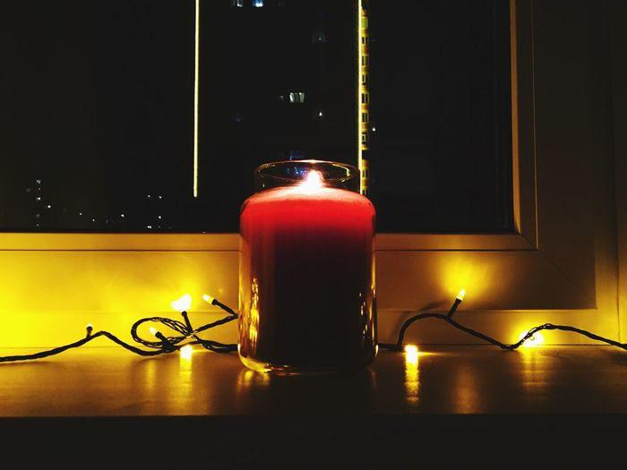 New Year ❤ Candle Light Equipment Night Focus On Foreground Multi Colored Glowing