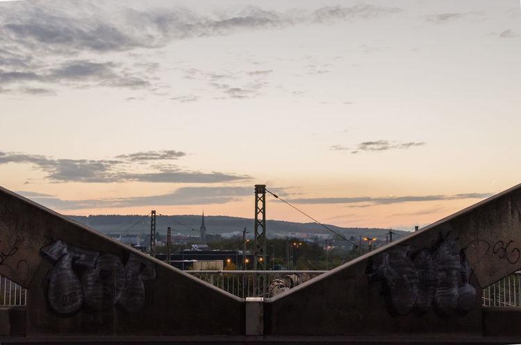 The Graphic City Bridge Built Structure Close Up Cloud Electricity Pylon Sky Sunset Suspension Bridge Adapted To The City