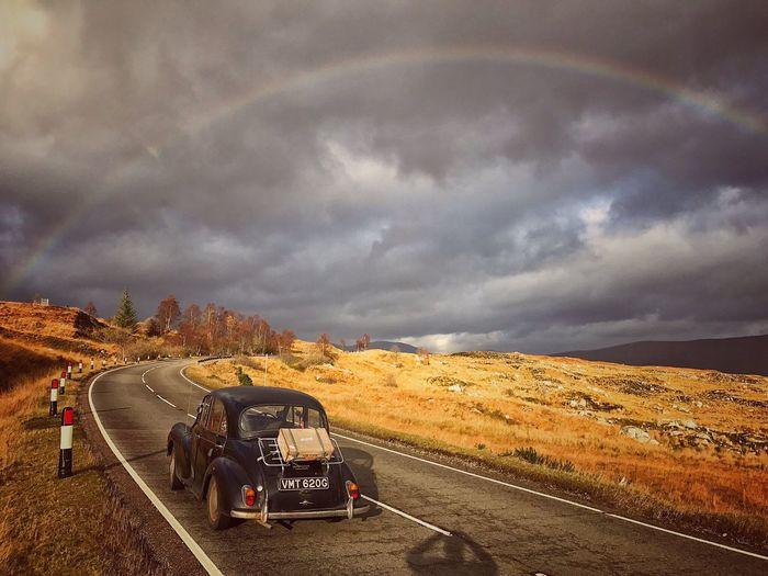 Cloud - Sky Sky Nature Transportation Outdoors Scotland Scottish Highlands Morris Minor 1000 Vintage Cars Roadtrip Classic Car Driving Rainbow