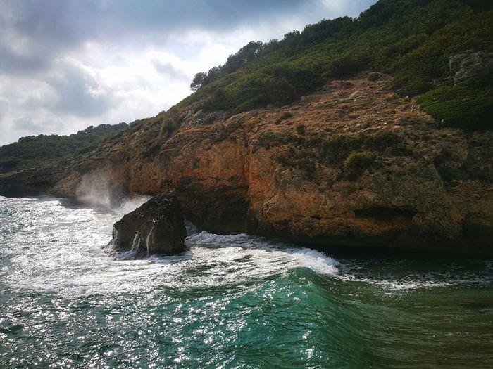 Cala Mediterranean Sea Water Mountain Sky Landscape Cliff Rock Formation