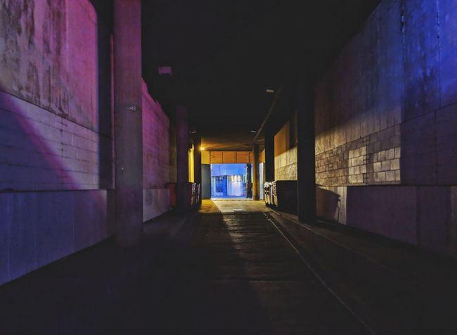 Tunnels of London Underground Retro Neon Pink Blue Light In The Darkness Light And Shadow Contrast Retro Style Underpass Tunnel Vision London Grimey Dirty Backlit Reflecting Urban London Streets London Lifestyle Lambeth  Waterloo Urbanphotography Urban Exploration Urban Decay Decay Struggle Subway Built Structure