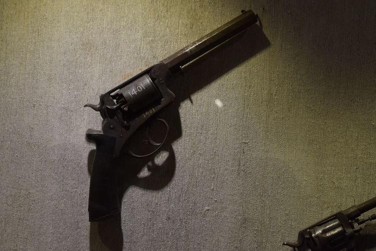 Close-up of an old gun