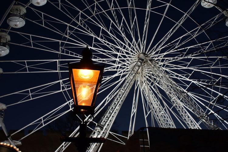Big Wheel Christmas Market Big Wheel Built Structure Glowing Illuminated Illuminated Wheel Light Lincoln Christmas Market Vintage Lamp Post