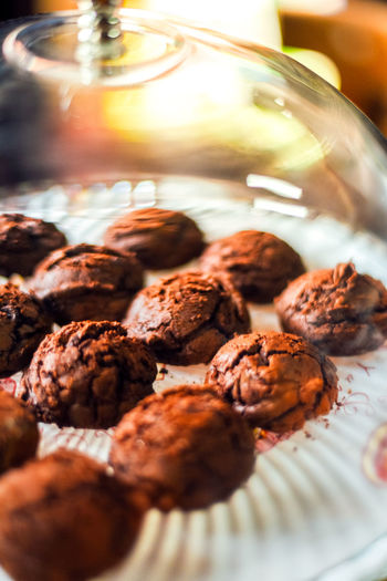 Chocolate brownie cookies on paper,delicious homemade