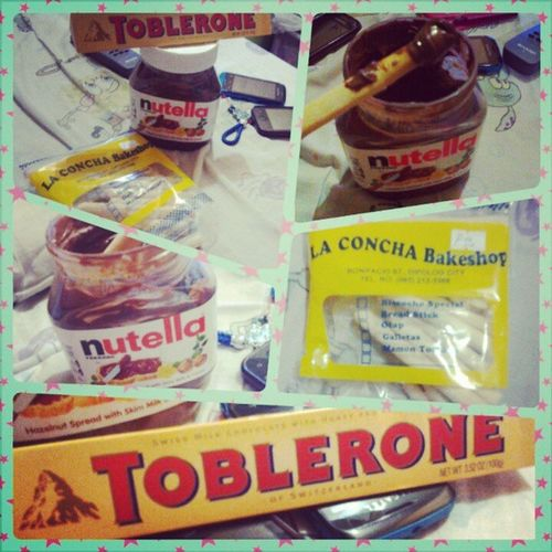 Hungry again!, Sweet Nutella Toblerone Breadstick Snack HomeAlone WatchingGGV Laughing Enjoying Icetea Lateevening :-D