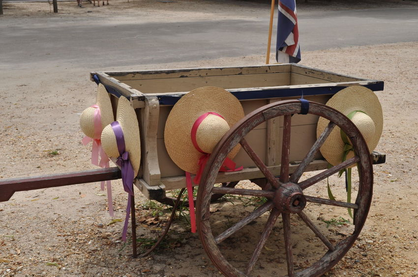 19th Century Antique Bonnets Carriage Colonial Country Day Early Years Farm Wagon Flag Hats Historic History No People Olden Days Outdoor Photography Outdoors Pioneer Pull Ribbons Around Hats Vintage Wagon  Wagon Wheel Wheel Wood