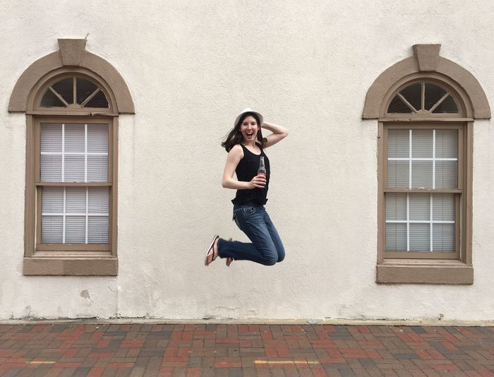 Marietta, Georgia Marietta Square Jumping Happy Excited Summer Woman IPhone Urban