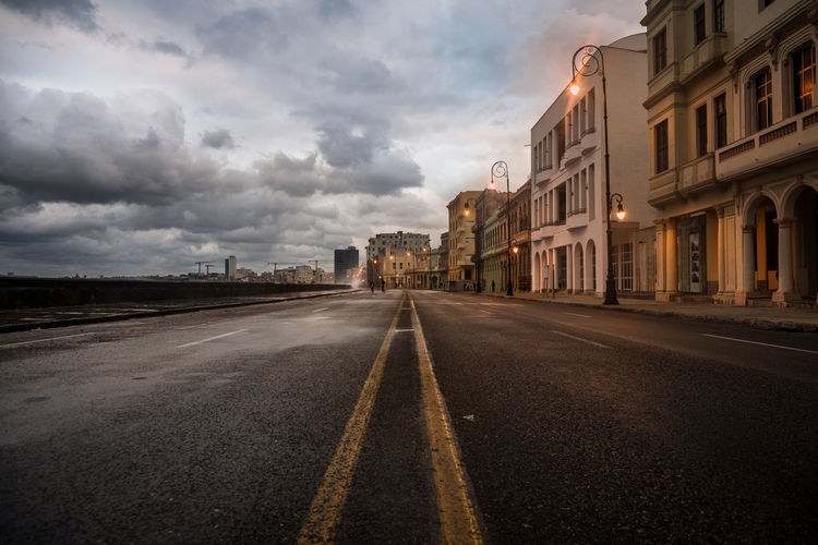 Surface Level Of Road By Buildings During Dusk