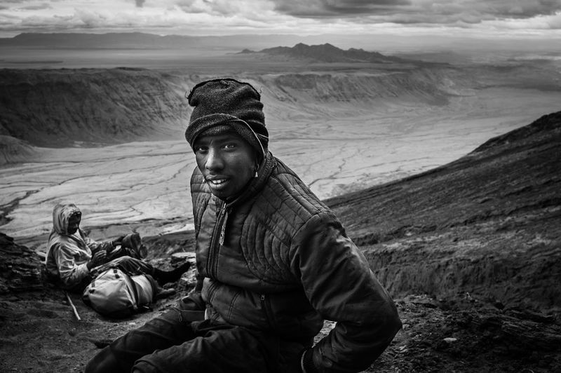 45degrees Hard Work Into The Wild Nature Photography Ngorongoro Conservation Area Tanzania The Week on EyeEm Africa Day To Day Climbing Go Higher Looking At Camera Monochrome Non-urban Scene Ol Doinyo Lengai Portrait Photography Sherpa Life Take A Break Take A Rest Volcanic Landscape Volcano