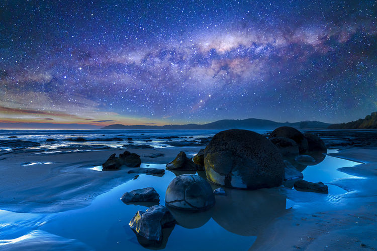 Beach Photography Constellation Cosmos Galaxy Moeraki Boulders Starlight Astronomy Astrophotography Beach Boulder Landscape Milkyway Nature Nebula New Zealand Night Outdoors Outerspace Sky Space Starry Universe