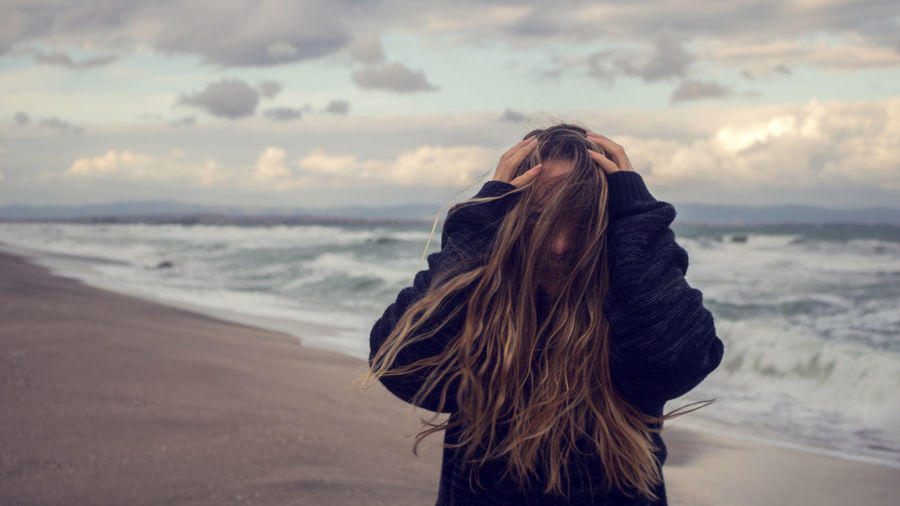 Life on the edge Cloud Cloudy Hair Nature Woman Beach Beachphotography Clouds Feelings Girl Long Hair Looking At View One Person Outdoors Sad Sand Sea Seascape Sky Stormy Sunset Water Waterfront Wind Windy Be Brave