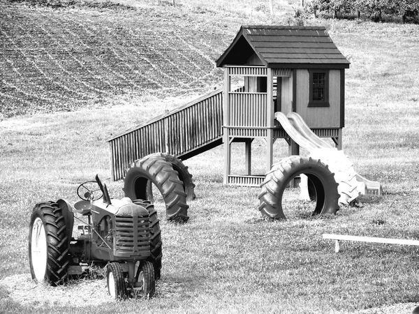 Country playground Outdoors Built Structure Day Childhood No People Summer Nature Summertime Black And White Seasons Fields Playground Fun Farm Life