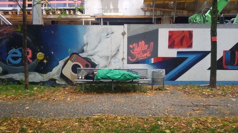 hello future Construction Site Graffiti Street Art/Graffiti Cynical Future Homeless Sleeping Streetphotography