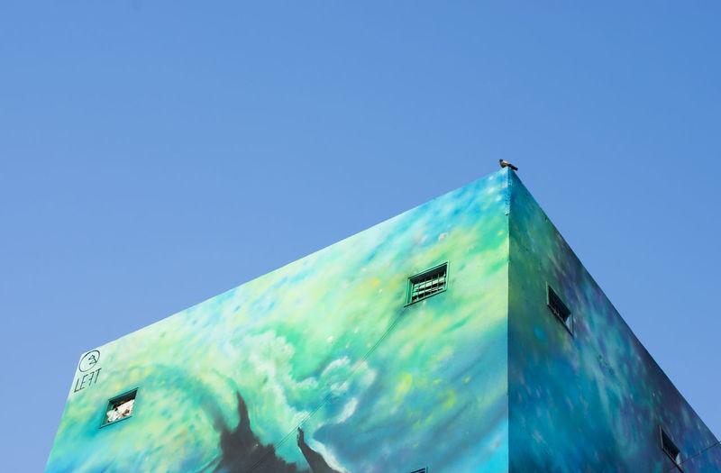 Parallel universe No People Pigeon Bird Photography Built Structure Surrealism Surrealist Art Street Art Graffiti Graffiti Art Graffiti Wall Graffiti & Streetart Graffitiporn Clear Sky Sky Mural Art Spray Paint Building Residential Structure Exterior