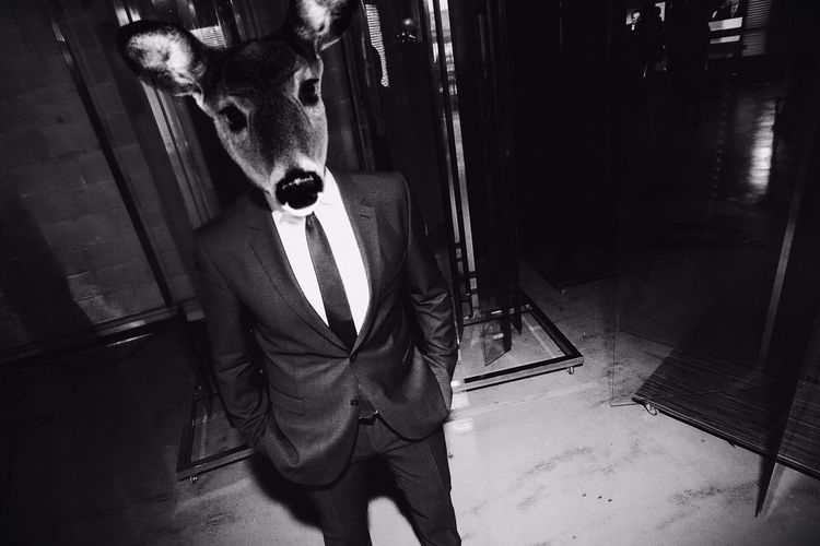 Man In Suit Wearing Deer Mask