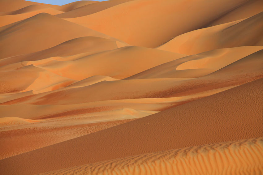 Abudhabi Arid Climate Backgrounds Curves Day Desert Full Frame Landscape Liwa Nature No People Outdoors Pattern Rippled Sand Sand Dune Scenics Shadow Sky Textured  Travel