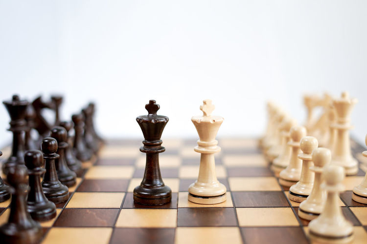Close-up of chess pieces