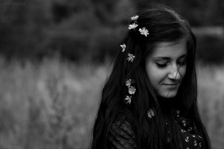 🌸🌼🌸 Blackandwhite Photography Czech Republic Girl Flowers SmileLong Hair Black And White Portrait BW Portrait