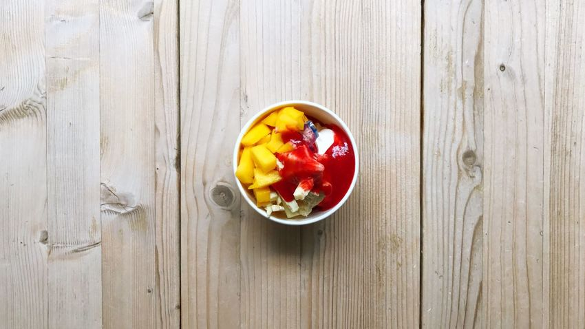 Frozen Sweet Food Frozen Food Sweet Food Summer Sundae Ice Cream Frozen Yogurt Food And Drink Fruit Healthy Eating Food Freshness Bowl Wood - Material Directly Above Table High Angle View No People Close-up