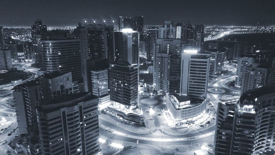 High angle view of dubai at night