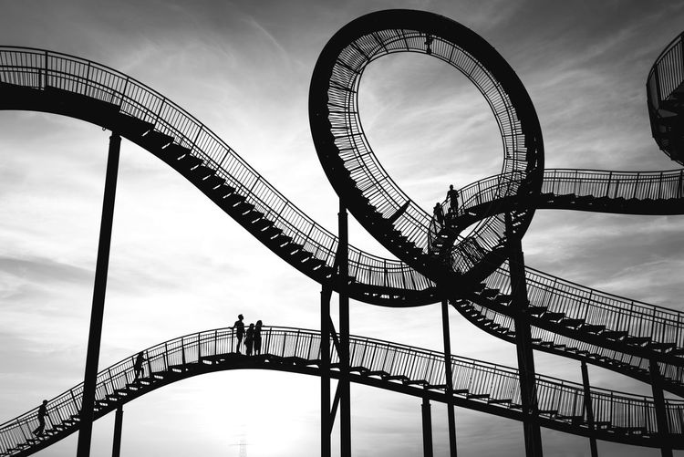Metal Arts Culture And Entertainment Built Structure Outdoors Architecture The Week On EyeEm Monochrome Black And White Fineart Atmosphere Togerherness Silhouettes People Watching Industrial Landscapes First Eyeem Photo Construction Industrial Tiger And Turtle – Magic Mountain Tiger And Turtle Industry Up Walking Around Sky Fun Black And White Friday The Architect - 2018 EyeEm Awards #urbanana: The Urban Playground