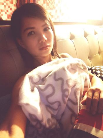 sofar but look like bed, she is not model.