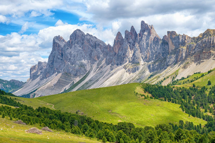 Odle mountains in the italian dolomites