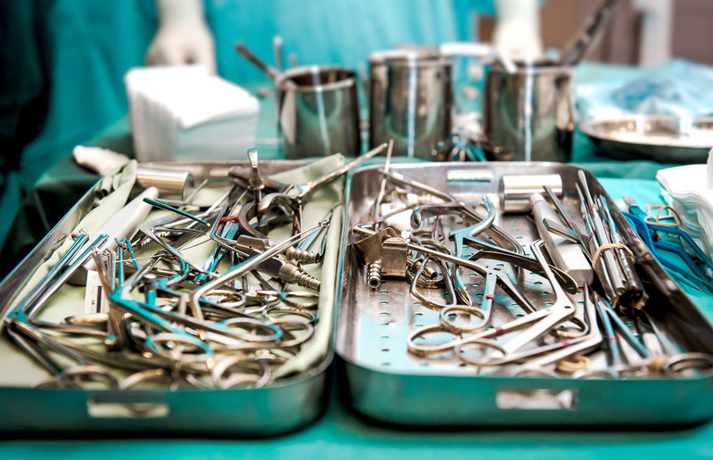 Surgical tools closeup Surgical Hospital Medical Equipment Medicine Scissors Surgical Instruments Clinic Equipment Equipments Healthcare And Medicine Indoors  Large Group Of Objects Medical Operation Operation Room Pincers Scalpel Silver - Metal Surgeon Box Surgery Surgeryroom Syringe Table Tools Tweezers