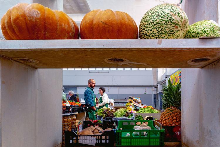 View of pumpkins in market