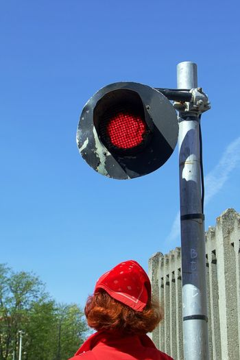 Red Head Street Life Traffic Blue Communication Day Double Red Halt! Light Nature One Person Outdoors Real People Red Red Light Safety Sign Sky Stop! Stoplight Synchronized