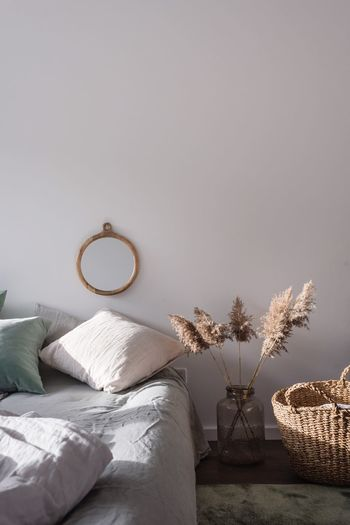 Morning Linen Nordic Scandinavian Home Interior Indoors  Bed Bedroom Vase Pillow No People Home Showcase Interior