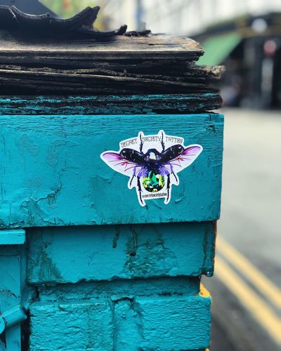 Insect Tattoo Graffiti. Manchester. Architecture Graffiti Manchester Manchester UK Yellow Lines Art Blue Blue Brick Wall Brick Close-up Day Depth Depth Of Field Depth Of Focus Flower Insect Nature No People No People Outdoors No People, Outdoor Outdoor Photography Outdoors Outside Outside Photography
