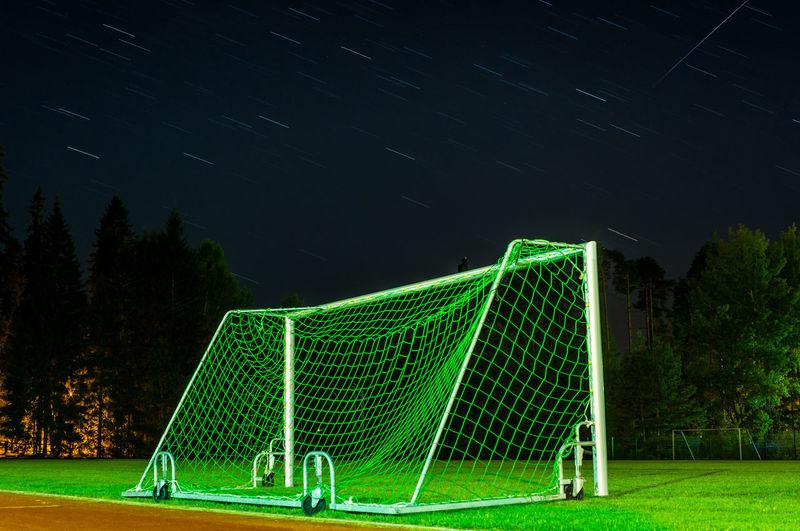 Football Goal Night Startrail  Green Color Footballfield Nightphotography Nightsky Long Exposure Startrails Finnish