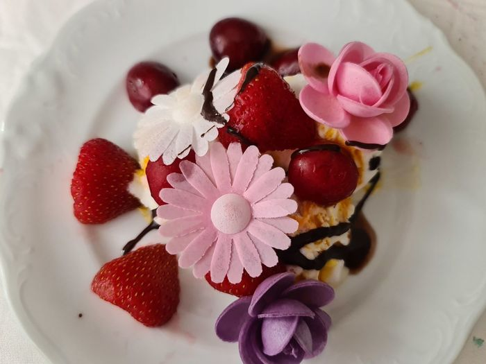 High angle view of roses in plate