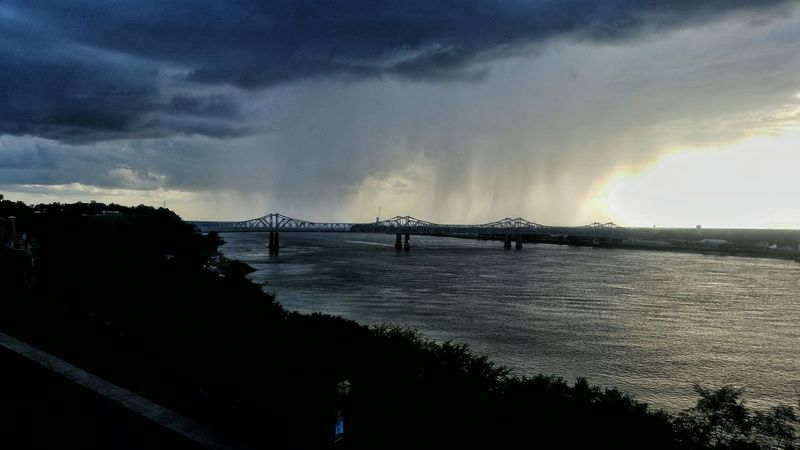 Hanging Out Taking Photos Check This Out Mighty Mississippi Stormy Weather Approaching Thunderstorms Beautiful View Old Bridge And Water Old Bridge Passage