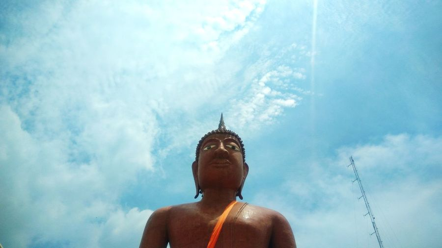 The elegance of Buddha statue in Thai temple Buddha Buddha Statue Blue Sky Elegance And Beauty Religion Thai Temple Amazing Thailand Colorful Travel Sky Close-up