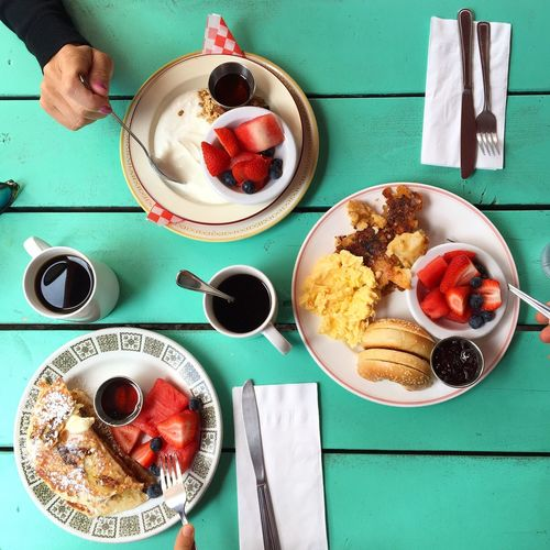 Food And Drink Breakfast Plate Food Coffee - Drink Healthy Eating Ready-to-eat Table Coffee Cup Freshness Serving Size Bowl Drink Indulgence Morning Directly Above Indoors  Temptation Meal Fork