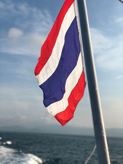 I love and miss this country Sky Flag Water Patriotism Cloud - Sky Sea Day Red No People Freedom Horizon Over Water National Icon