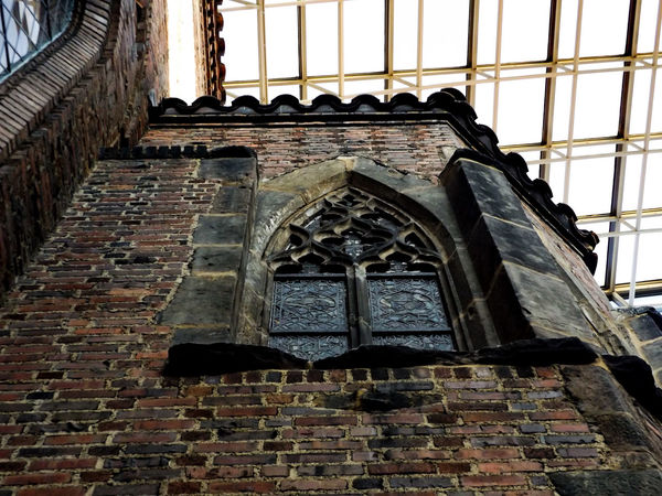 Cathedral Cathedral Window Stained Glass Window Perspective Window Dark Ombre Somber Looking Up Angle Victorian Architecture Victorian Grunge Old Architecture Architecture Detail High Definition Red Brick Brick Building Showcase: February The Architect - 2016 EyeEm Awards Fine Art Photography