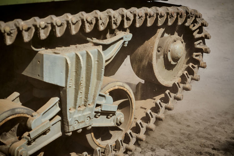 Close-up of caterpillar track of armored tank