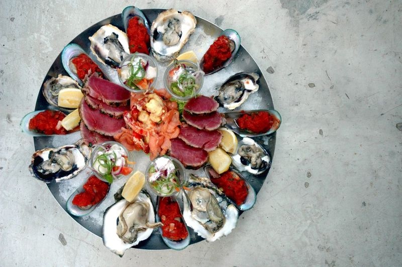 Food And Drink Food Seafood Freshness Healthy Eating Wellbeing Directly Above Indoors  High Angle View Ready-to-eat Crustacean Fruit Oyster  No People Meat Plate Vegetable Variation Studio Shot Appetizer Luxury Dinner Oyster  Eyeem Philippines Eyeem Philippines Album