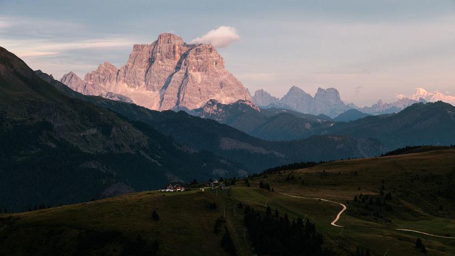 Monte pelmo view during sunset - val badia - alto adige sudtirol