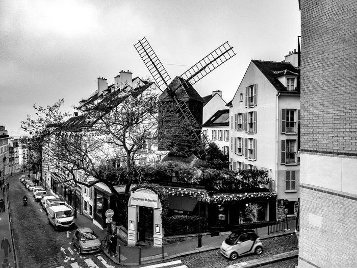 Montmartre Outdoors Outdoor Photography France Paris Noiretblanc Noir Et Blanc Photographie Noir Et Blanc Moulin Montmartre Sky Day