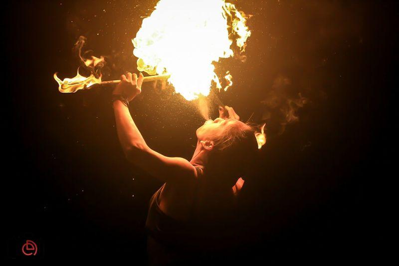 Spitting fire..