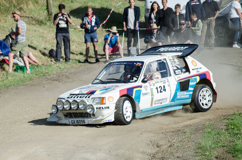 Eifel Rally 80's Road Spectators Action Cornering Day Daylight Dusk Gravel Group B Outdoors People Peugeot Peugeot 205 T16 Race Rally Rally Car Speed Sport Sport Car