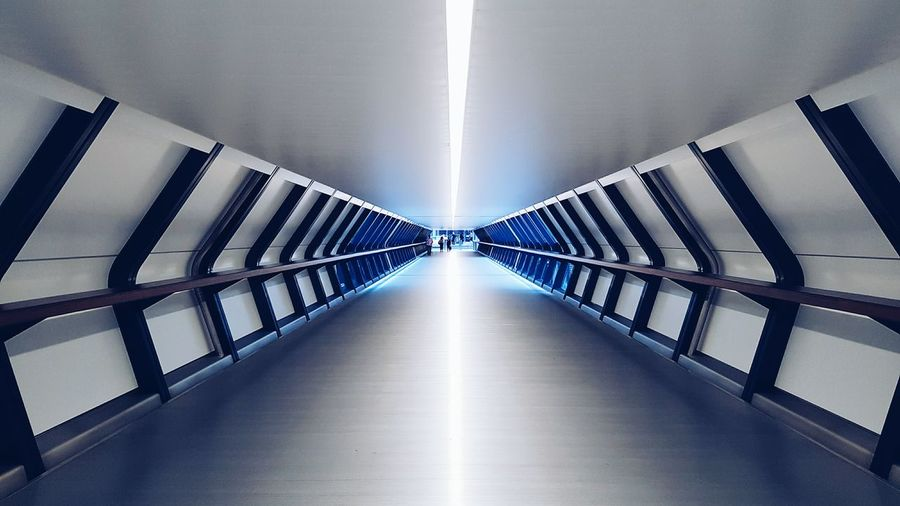 Architecture The Way Forward Built Structure Modern Indoors  Illuminated Corridor Architectural Feature Pedestrian Walkway Diminishing Perspective Futuristic Architecture Futurist Futuristic Futuristic City